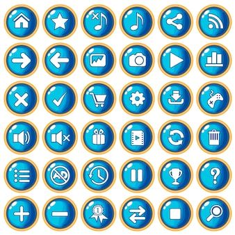 Knoopkleur blauw randgoud voor kunststof in game-stijl.