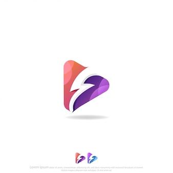 Knop afspelen met thunder of flash logo vector