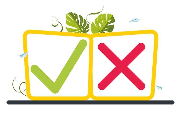 Knop teek en kruisteken met bladeren op de achtergrond. stem, verkiezingskeuze, vinkjes. checklistmarkeringen, keuzemogelijkheden, enquêteborden. keuze ja of nee. vectorillustratie