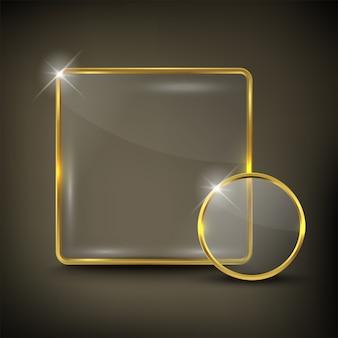 Knop vierkant web glanzend goud