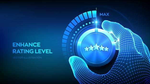 Knop voor beoordelingsniveaus. wireframe-hand die een beoordelingstestknop naar de maximale positie draait vijfsterrenrang.