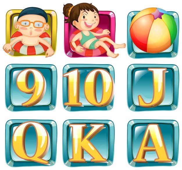 Knopen met kinderen en letters