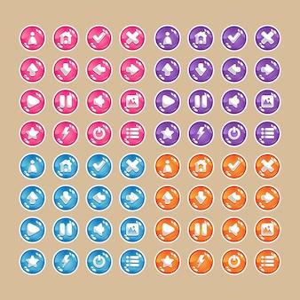 Knopen van verschillende kleuren (blauw, roze, rood, paars) met pictogrammen.