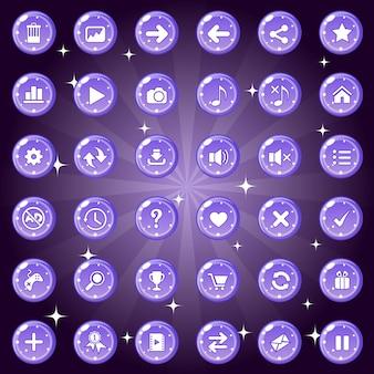 Knoppen en pictogrammenset ontwerp voor game of webthema is kleur paars.