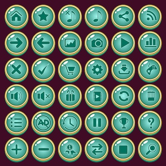 Knoppen icon set ontwerp luxe vorm kleur groen voor spel.
