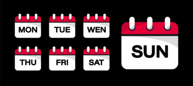 Knoppen voor het web van de kalender - dagen van de week. de dagen van de week-badges. set van kalenderpictogrammen voor elke dag van een week in trendy vlakke stijl