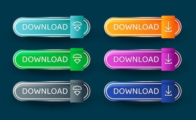 Knopsjabloon downloaden. set van vector moderne materiële stijl knoppen. vector illustratie.