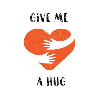 Knuffel jezelf. geef me een knuffel. borstel kalligrafie, handgeschreven tekst