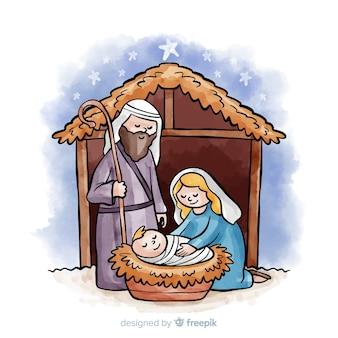Knuffelende familie kerststal achtergrond