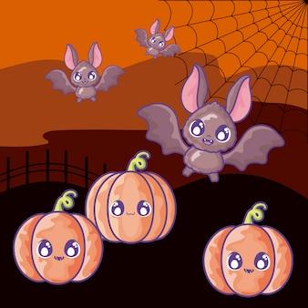 Knuppel die met pompoen op halloween-scène vliegt