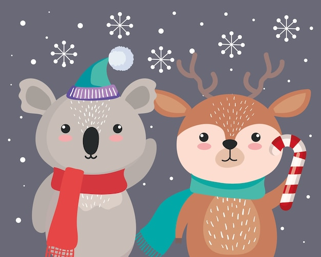 Koala- en rendiercartoons in vrolijk kerstseizoenontwerp, winter en decoratiethema
