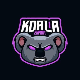Koala esports mascotte logo-ontwerp voor beste team