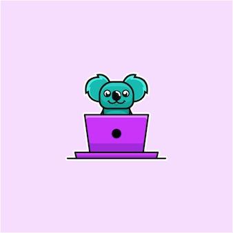 Koala illustratie werken met laptop