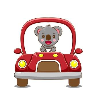 Koala karakter rijdende auto.