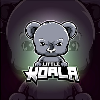 Koala mascotte esport logo ontwerp