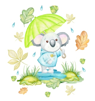 Koala, met een paraplu, omringd door herfstbladeren en regendruppels. aquarel concept