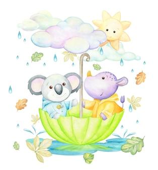 Koala, neushoorn, paraplu, regen, herfstbladeren, wolken, zon. een aquarelconcept, in cartoonstijl