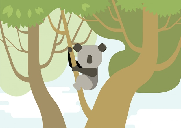 Koala op boomtak platte cartoon
