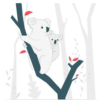 Koala's in bomen concept illustratie