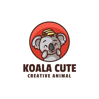 Koala schattig mascotte cartoon stijl logo sjabloon