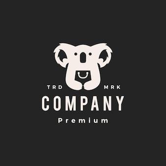 Koala winkel boodschappentas hipster vintage logo vector pictogram illustratie