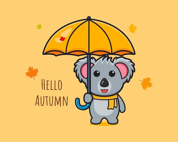 Koala zeg hallo herfst op banner kaart cartoon pictogram vectorillustratie