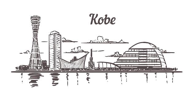 Kobe stadsgezicht schets