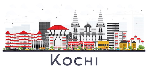 Kochi india city skyline met kleur gebouwen geïsoleerd op wit. vectorillustratie. zakelijk reizen en toerisme concept met historische architectuur. kochi stadsgezicht met monumenten.
