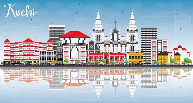 Kochi skyline met kleur gebouwen, blauwe lucht en reflecties. vectorillustratie. zakelijk reizen en toerisme concept met historische architectuur. afbeelding voor presentatiebanner plakkaat en website.