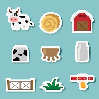 Koe boerderij pictogrammen