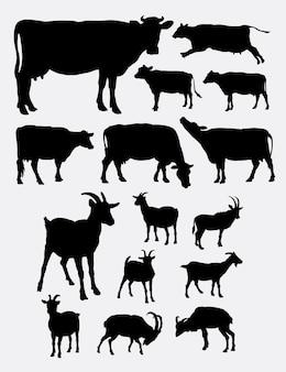 Koe en geit boerderij dieren silhouet