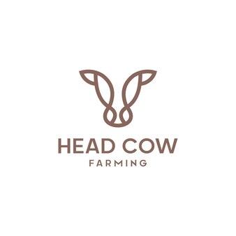 Koe hoofd lijn overzicht monoline pictogram grafisch silhouet embleem logo label