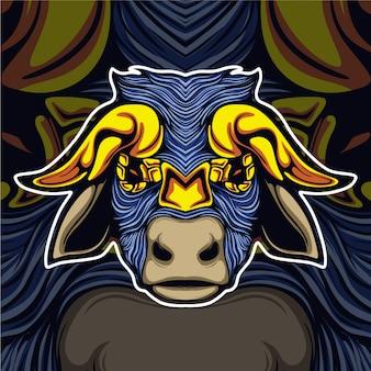 Koe met gouden hoorn mascotte logo