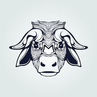Koe met hoorn lijntattoo