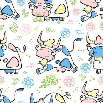 Koe naar boerderij rennen om melk en huisdier met de hand getekend cartoon naadloos patroon te geven