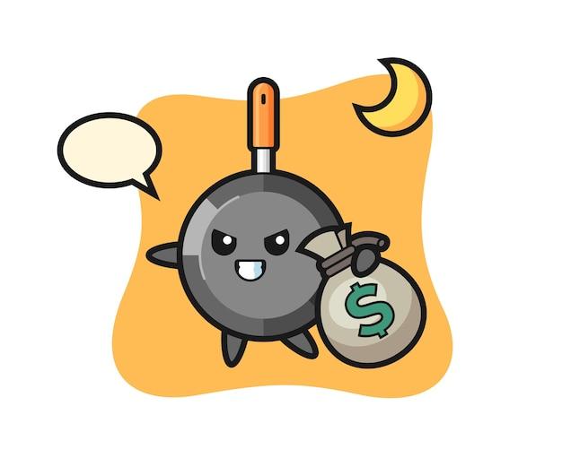 Koekenpan cartoon is het geld gestolen
