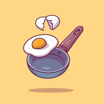 Koekenpan en ei gebakken pictogram illustratie. ontbijt concept geïsoleerd