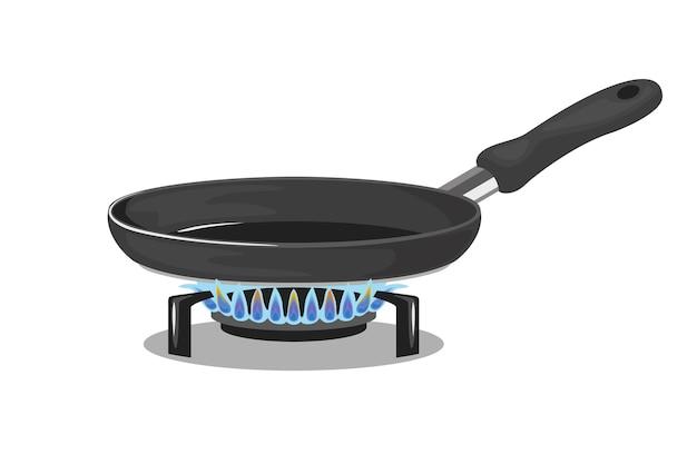 Koekenpan op gasfornuis.