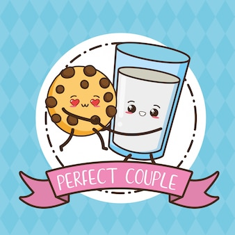 Koekje en glas melk, kawaii-voedsel, illustratie