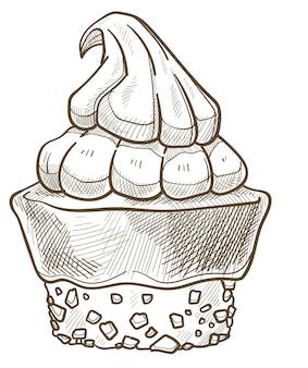 Koekje of taart met chocolade topping, glazuur met mousse