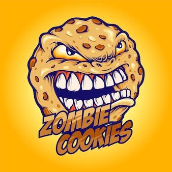 Koekjes boze zombie biscuit mascotte illustraties