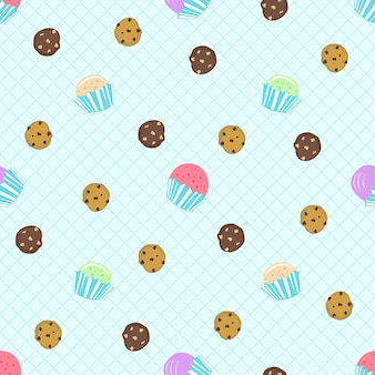 Koekjes en cupcakes naadloos patroon