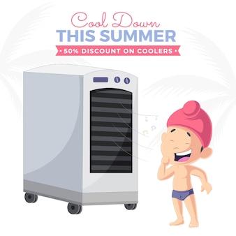 Koel deze zomerkorting af op de ontwerpsjabloon voor koelersbanners
