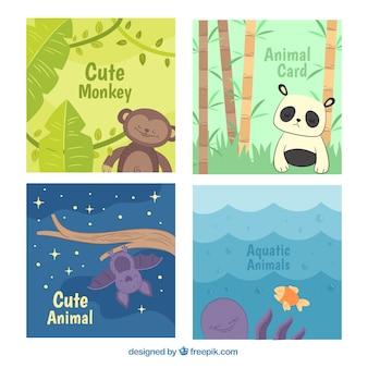 Koel pakket kaarten met schattige dieren