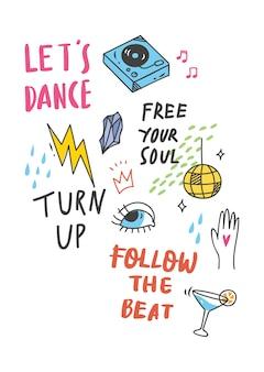 Koel t-shirtontwerp in krabbelstijl met flarden en hand geschreven citaten