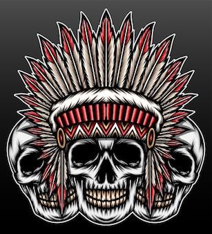 Koele amerikaanse inheemse schedel die op zwart wordt geïsoleerd