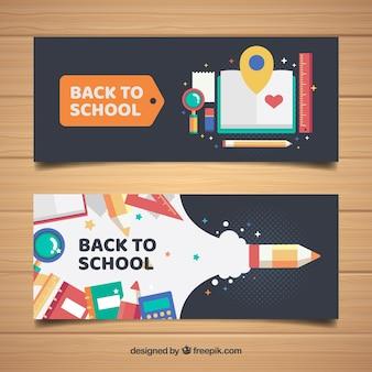 Koele banners met schoolmaterialen in vlakke vormgeving