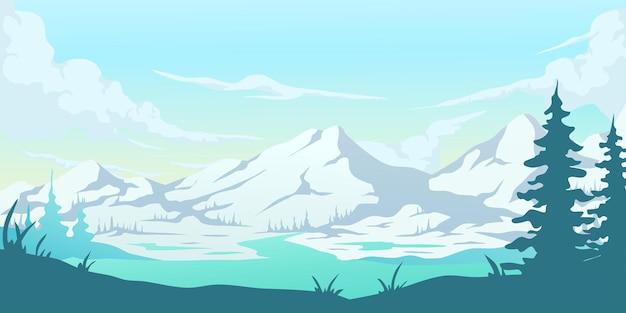 Koele berglandschap achtergrond afbeelding