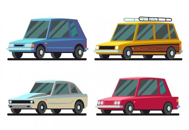 Koele cartoon sport en reizen auto's vector set