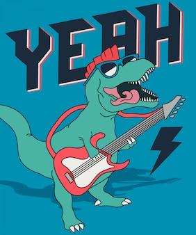 Koele dinosaurus die gitaar speelt